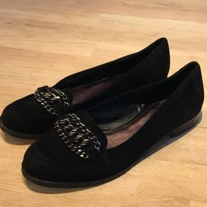 B. Makowsky Black Suede Loafers with Chain Detail